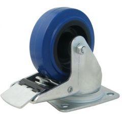 "4"" Blue Wheeled Braked Castor"