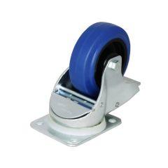 "Braked Auto 4"" Blue Wheeled Self Centering Castor"